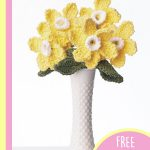 Crochet Daffodil Bouquet . Lovely bunch of daffoldils in a white vase. Yellow with white centers    thecrochetspace.com
