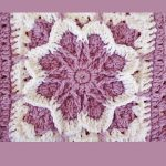 Crochet Fall Blossom Granny Square. Crafted in lilac and white || thecrochetspace.com