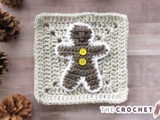 Crochet Gingerbread Man Applique || thecrochetspace.com