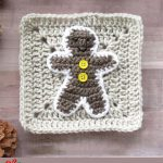 Crochet Gingerbread Man Applique. Crafted on top of a beige plain Granny Square with white and yellow accents || thecrochetspace.com