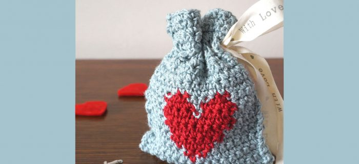 Crochet Heart Gift Bag | thecrochetspace.com