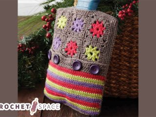 Crochet Hot Water Bottle Cozy. Top half is crafted in grannysquares and the lower part is crafted in stripes || thecrochetspace.com