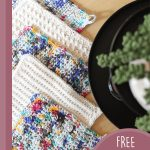 Crochet Kitchen Cloths Variety. All five cloths laid out overlapping each other || thecrochetspace.com