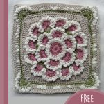 Crochet Meadow Queen Square. Crafted in Grey & pink || thecrochetspace.com
