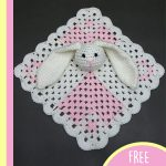 Crochet Mini Bunny Lovey. Baby blanket with bunny head attached    thecrochetspace.com