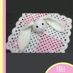 Crochet Mini Bunny Lovey. Blanket corners folded, bunny head attached in center    thecrochetspace.com