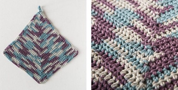 Mitered Square Crochet Dishcloth | thecrochetspace.com