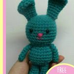 Crochet One Body– Make Three Animals. One mini bunny crafted in teal || thecrochetspace.com