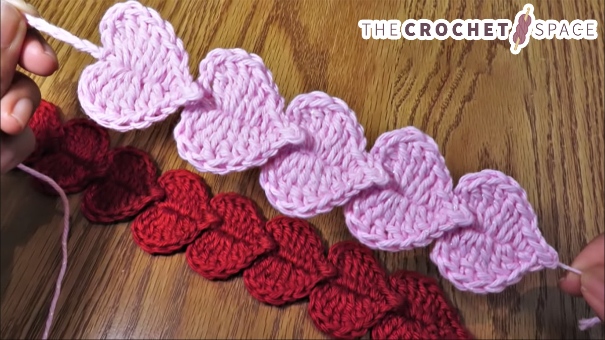 Crochet Overlapping Hearts Bookmarks