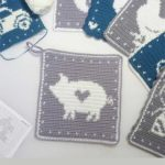 Crochet Pig Hot Pad. Surrounded by the other potholders in the Farmhouse Collection || thecrochetspace.com