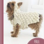 Crochet Puff Pooch Sweater. Crafted in cream puff stitch. Slip over the ears and keeps neck covered || thecrochetspace.com