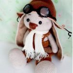 Crochet Roger Racy Rabbit. Aviator bunny wearing outfit    thecrochetspace.com