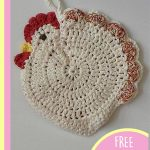 Crochet Speckled Hen Potholders. Flat chicken inoatmeal and several bright accent colors || thecrochetspace.com