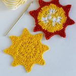 Crochet Summer Sun Coasters. Two Images. One All Yellow And One Red Flames and Yellow Sun || thecrochetspace.com