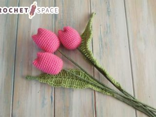 Crochet Tulips With Leaves || thecrochetspace.com