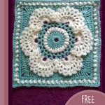 Crochet Wild Chervil Square. Crafted in pale teal and cream || thecrochetspace.com