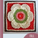 Crochet Wild Chervil Square. Crafted in red, blue, cream, green and pink! || thecrochetspace.com