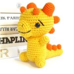 Crocheted Baby Dragon Rattle. 1x Yellow dragon rattle || thecrochetspace.com