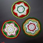 Crocheted Party Doily Coasters. Three different coasters all crafted in red, green and white || thecrochetspace.com