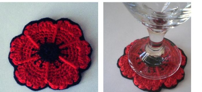 Crocheted Perfect Poppy Coasters | thecrochetspace.com