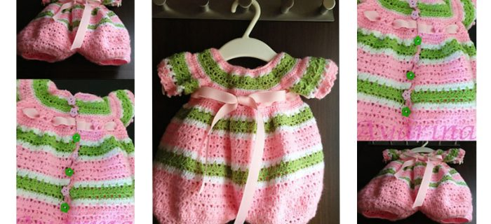 Crocheted Pink Baby Romper | thecrochetspace.com