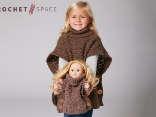 Crocheted Poncho For A Girl And Her Doll || thecrochetspace.com