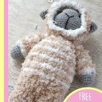 Cuddly Lamb Amigurumi Buddy. 1x sheet in beige and cream stripes || thecrochetspace.com