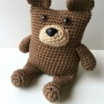 Cute Crocheted Boxy Bear. One bear crafted in brown with beige muzzle || thecrochetspace.com