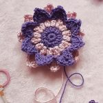 Dahlia Crocheted Flower Motif. Crafted in purple and pink || thecrochetspace.com
