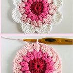 Delightful Crochet Daisy Dishcloth. Double image Top and Bottom. One daisy shape, one round circle with vibrant centers || thecrochetspace.com