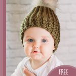 Easiest Family Crochet Beanie. Brown hat with a pompom    thecrochetspace.com