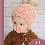 Easiest Family Crochet Beanie. Peach hat with a pompom    thecrochetspace.com