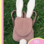 Easter Bunny Crochet Rucksack. Laid out on the grass. Crafted in brown with cream ears and bob tail || thecrochetspace.com