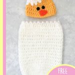 Cuddly Crochet Cocoon Set. Crafted in white with yellow chick hat and face || thecrochetspace.com
