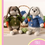 Easter Crochet Big Bunny. Two bunnies in jackets standing in front of a basket || thecrochetspace.com