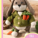 Easter Crochet Big Bunny. One bunny in a greem jacket with two carrots in his top pocket || thecrochetspace.com