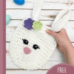 Easter Crochet Bunny Bag. Miss Bunny bag with flowers || thecrochetspace.com