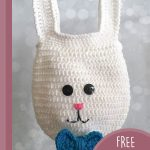 Easter Crochet Bunny Bag. Mr Bunny bag with a blue bow tie || thecrochetspace.com