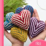Easy Brioche Crochet Heart. A pair of hands clutching 5x hearts || thecrochetspace.com