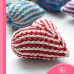 Easy Brioche Crochet Heart. two hearts on a table || thecrochetspace.com