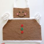 Easy Crochet Gingerbread Apron. Crafted in brown with white accents || thecrochetspace.com