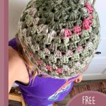 Easy Crochet Granny Beanie. Crafted in greens and pinks. Image from above looking down onto het    thecrochetspace.com