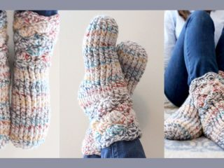 Easy Crochet Slipper Socks || thecrochetspace.com