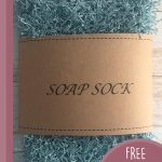 Easy Crochet Soap Sack. Crafted in s scrubby denim blue with hand made label    thecrochetspace.com
