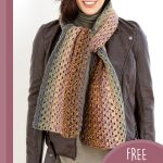 Easy Granny Crochet Scarf. Scarf hanging loose around neck || thecrochetspace.com