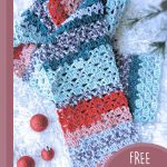 Easy Lacy Crochet Scarf. Crafted in blue's and red's for a festive look || thecrochetspace.com