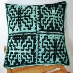 Easy Mosaic Crochet Pillow. Green and black color design. Front image of square pillow || thecrochetspace.com