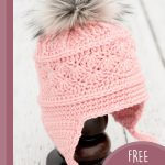 Easy Skiers Crochet Chullo. Image of hat on hatstand    thecrochetspace.com