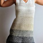Eazy Breezy Crochet Dress. Close up image of front of dress. V neck in ombre stripes. Cream to grey || thecrochetspace.com