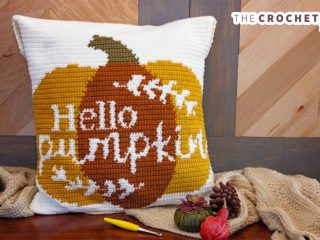 C2C Fall Crochet Pumpkin Pillow || thecrochetspace.com